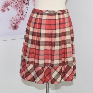 Talbots Petites Plaid Pleated Skirt